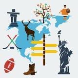 Διανυσματικό ταξίδι της Βόρειας Αμερικής επίπεδο Στοκ Εικόνες