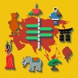 Διανυσματικό ταξίδι χρώματος της Ασίας επίπεδο Στοκ φωτογραφία με δικαίωμα ελεύθερης χρήσης