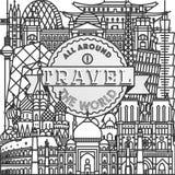 Διανυσματικό ταξίδι όλοι γύρω από την παγκόσμια αφίσα Στοκ Εικόνες