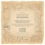 Διανυσματικό τετραγωνικό πλαίσιο εκπαίδευσης σε παλαιό εκλεκτής ποιότητας χαρτί Στοκ εικόνες με δικαίωμα ελεύθερης χρήσης