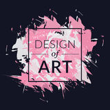 Διανυσματικό τετραγωνικό πλαίσιο με το υπόβαθρο βουρτσών χρωμάτων και το σχέδιο κειμένων της τέχνης Αφηρημένο γραφικό ρόδινο και  Στοκ Εικόνες