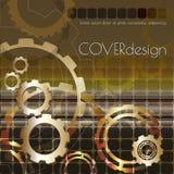 Διανυσματικό τετραγωνικό σχέδιο κάλυψης φυλλάδιων με χρυσά cogwheels Απεικόνιση αποθεμάτων