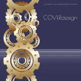 Διανυσματικό τετραγωνικό σχέδιο κάλυψης φυλλάδιων με χρυσό Διανυσματική απεικόνιση