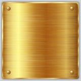 Διανυσματικό τετραγωνικό χρυσό μεταλλικό πιάτο με τις βίδες Στοκ Φωτογραφία