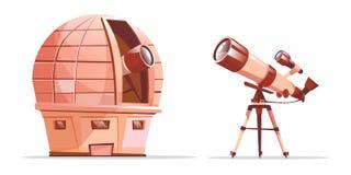 Διανυσματικό τηλεσκόπιο στο τρίποδο, παρατηρητήριο αστρονομίας απεικόνιση αποθεμάτων
