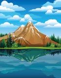 Διανυσματικό τοπίο με τα βουνά χιονιού Ελεύθερη απεικόνιση δικαιώματος