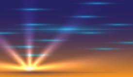 Διανυσματικό τοπίο με το ηλιοβασίλεμα διανυσματική απεικόνιση