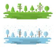 Διανυσματικό τοπίο του δάσους, πάρκο, αλέα με τα διαφορετικά δέντρα Θερινό και χειμερινό δασικό πανόραμα, υπαίθριο Επίπεδο ύφος δ διανυσματική απεικόνιση