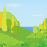 Διανυσματικό τοπίο φθινοπώρου με τους λόφους, τα δέντρα και τον ποταμό ελεύθερη απεικόνιση δικαιώματος