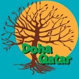 Διανυσματικό τουριστικό θέρετροDoha, Κατάρ illustrationnΤυπωμένη ύλη Modny ελεύθερη απεικόνιση δικαιώματος