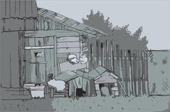 Διανυσματικό του χωριού σκίτσο Στοκ Εικόνες