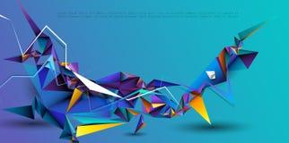 Διανυσματικό τρισδιάστατο γεωμετρικός, πολύγωνο, γραμμή, μορφή σχεδίων τριγώνων για την ταπετσαρία ή υπόβαθρο στοκ φωτογραφία