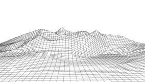 Διανυσματικό τρισδιάστατο τοπίο wireframe Απεικόνιση πλέγματος απεικόνιση αποθεμάτων