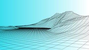 Διανυσματικό τρισδιάστατο τοπίο wireframe Απεικόνιση πλέγματος διανυσματική απεικόνιση