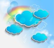 Διανυσματικό τρισδιάστατο υπόβαθρο με τα σύννεφα Στοκ Εικόνες