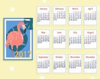 Διανυσματικό τροπικό εκτυπώσιμο ημερολόγιο 2017 με το φλαμίγκο Στοκ Εικόνα