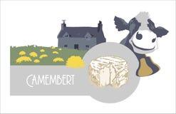 Διανυσματικό τυρί, αγελάδα και αγρόκτημα ετικετών εικόνων στο μπλε χρώμα Στοκ Εικόνες