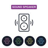 Διανυσματικό υγιές εικονίδιο speakerr Απλό λεπτό εικονίδιο γραμμών για τους ιστοχώρους, απεικόνιση αποθεμάτων