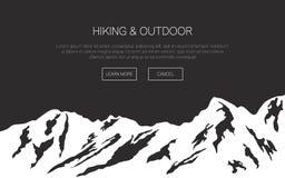 Διανυσματικό υπόβαθρο βουνών Έννοια ταξιδιού για τον Ιστό και τα advertis Στοκ εικόνες με δικαίωμα ελεύθερης χρήσης