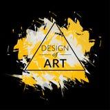 Διανυσματικό υπόβαθρο βουρτσών χρωμάτων με το πλαίσιο τριγώνων και το σχέδιο κειμένων της τέχνης Αφηρημένο γραφικό κίτρινο και άσ Στοκ εικόνες με δικαίωμα ελεύθερης χρήσης