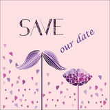 Διανυσματικό υπόβαθρο για την πρόσκληση στο γάμο Mustache, χείλια και καρδιά Στοκ Εικόνες