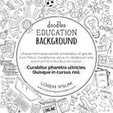 Διανυσματικό υπόβαθρο εκπαίδευσης doodles Στοκ Εικόνες
