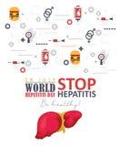 Διανυσματικό υπόβαθρο ημέρας παγκόσμιας ηπατίτιδας στο σύγχρονο επίπεδο σχέδιο στο άσπρο υπόβαθρο 28 Ιουλίου Στοκ Φωτογραφία