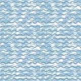 Διανυσματικό υπόβαθρο θάλασσας με τα μπλε κύματα και τα άσπρα κτυπήματα του χρώματος απεικόνιση αποθεμάτων