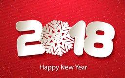 Διανυσματικό υπόβαθρο καλής χρονιάς 2018 με τα μοσχεύματα εγγράφου Στοκ Εικόνες