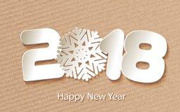 Διανυσματικό υπόβαθρο καλής χρονιάς 2018 με τα μοσχεύματα εγγράφου Στοκ φωτογραφία με δικαίωμα ελεύθερης χρήσης