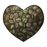 Διανυσματικό υπόβαθρο καρδιών Αφηρημένη απεικόνιση αγάπης φασολιών καφέ Στοκ εικόνες με δικαίωμα ελεύθερης χρήσης