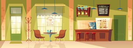 Διανυσματικό υπόβαθρο καφέδων κινούμενων σχεδίων, εσωτερικό καφετερίων, έπιπλα Στοκ φωτογραφία με δικαίωμα ελεύθερης χρήσης