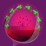 Διανυσματικό υπόβαθρο κρασιού με τη στρογγυλή διακόσμηση Διανυσματική απεικόνιση