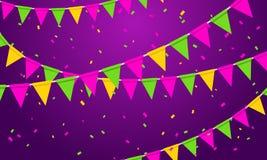 Διανυσματικό υπόβαθρο κόμματος απεικόνισης εορταστικό με τις γιρλάντες και Serpentine σημαιών Στοκ φωτογραφία με δικαίωμα ελεύθερης χρήσης