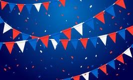 Διανυσματικό υπόβαθρο κόμματος απεικόνισης εορταστικό με τις γιρλάντες και Serpentine σημαιών Στοκ Φωτογραφίες