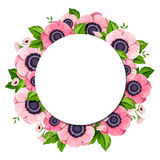 Διανυσματικό υπόβαθρο κύκλων με τα ρόδινα λουλούδια anemone Στοκ Φωτογραφία