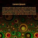 Διανυσματικό υπόβαθρο με έναν κύβο του διαφορετικού χρώματος και των διαφορετικών κύκλων μεγέθους Στοκ Εικόνα