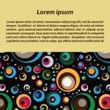 Διανυσματικό υπόβαθρο με έναν κύβο του διαφορετικού χρώματος και των διαφορετικών κύκλων μεγέθους Στοκ Εικόνες
