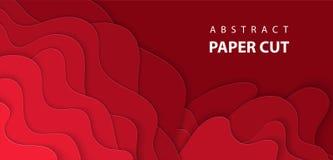 Διανυσματικό υπόβαθρο με βαθιά - μορφές περικοπών εγγράφου κόκκινου χρώματος απεικόνιση αποθεμάτων