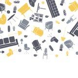Διανυσματικό υπόβαθρο με τα έπιπλα, τους λαμπτήρες και τις εγκαταστάσεις απεικόνιση αποθεμάτων
