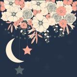 Διανυσματικό υπόβαθρο με τα λουλούδια και τα αστέρια Γαμήλια πρόσκληση, GR ελεύθερη απεικόνιση δικαιώματος
