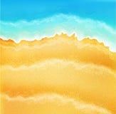 Διανυσματικό υπόβαθρο με την άμμο και τα κύματα θάλασσας διανυσματική απεικόνιση