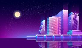 Διανυσματικό υπόβαθρο με την πόλη νύχτας στα φω'τα νέου ελεύθερη απεικόνιση δικαιώματος