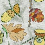 Διανυσματικό υπόβαθρο με τον κώνο και τα βελανίδια και τα φύλλα, υπόβαθρο φθινοπώρου, διακοσμητικά άνευ ραφής φυτά Στοκ φωτογραφίες με δικαίωμα ελεύθερης χρήσης