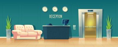 Διανυσματικό υπόβαθρο με το γραφείο υποδοχής στο ξενοδοχείο απεικόνιση αποθεμάτων