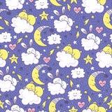 Διανυσματικό υπόβαθρο με το λαγουδάκι και τις αρκούδες ύπνου, το φεγγάρι, τις καρδιές, τα σύννεφα και τα αστέρια απεικόνιση αποθεμάτων