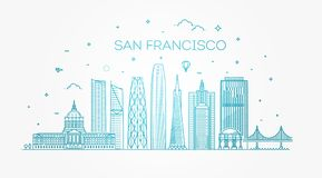 Διανυσματικό υπόβαθρο οριζόντων πόλεων του Σαν Φρανσίσκο Στοκ εικόνα με δικαίωμα ελεύθερης χρήσης