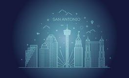 Διανυσματικό υπόβαθρο οριζόντων πόλεων του San Antonio απεικόνιση αποθεμάτων