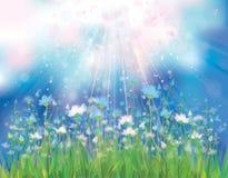 Διανυσματικό υπόβαθρο ουρανού με τα μπλε λουλούδια. διανυσματική απεικόνιση