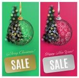 Διανυσματικό υπόβαθρο πώλησης καρτών Χριστουγέννων καθορισμένο με τη σφαίρα, λωρίδα, θολωμένο δέντρο EPS10 διανυσματική απεικόνιση